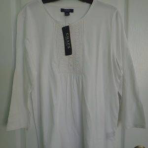 Chaps 3/4 Sleeve White Top Size Large